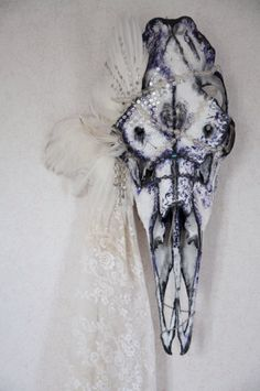 Hand Painted / REAL Animal Skull/ Taxidermy / Wall Mount Skull /  Swedish Moose Skull / Animal Bones. $1,840.00, via Etsy.