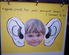 Samuel bible story craft w/ verse Preschool Bible Lessons, Bible Lessons For Kids, Bible Activities, Bible For Kids, Preschool Bible Crafts, Toddler Bible, Kids Crafts, Sunday School Kids, Sunday School Activities