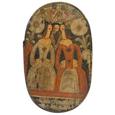 """epicting Three Primitive Figures  Hand Painted Pine and Bent Wood  Danish,Southern Islands, c1790  7"""" high x 18.75"""" wide x 11.5"""" deep    In fine original condition,  Translated literally, these """"Spaanaesske"""" are Headgear boxes and were used to store a bride's treasured veil and headgear from the traditional wedding costume. Th"""