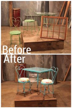 Before: Parlor Table, Chairs and a Window Frame After: Quirky Window-Topped Dining Set