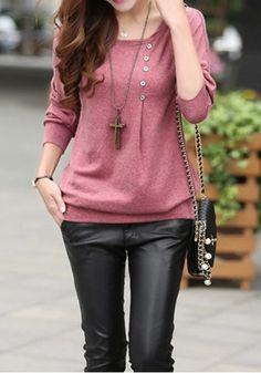 Bean Paste Red Plain Buttons Collarless Dolman Sleeve Long Sleeve Casual Cotton Blend T-Shirt - T-Shirts - Tops