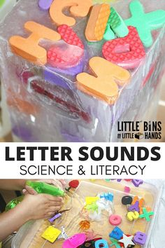 Letter Sounds Activity and Ice Melt Experiment for kids preschool literacy and science ideas