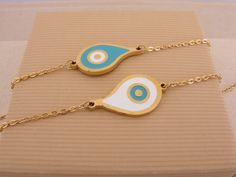 Stainless Steel Gold Plated Evil Eye Tear Bracelet by ForThatSpecialDay on Etsy