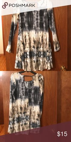 Tie Dye Tunic with Pockets. Brand new, never worn tunic/dress with pockets. Beautiful colors, hard to catch in the light, very soft. Different shades blue, grays, cream and taupe. Entro Tops Tunics