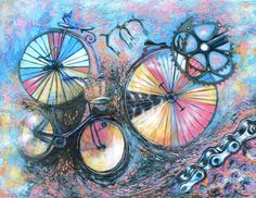 Looking at some abstract images which may be closer to the eventual design for the badge. Bicycle Painting, Bicycle Art, Abstract Images, Abstract Art, Acrilic Paintings, Original Paintings For Sale, Art Prints For Sale, Contemporary Paintings, Art Google