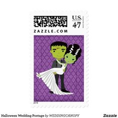 Halloween wedding postage stamps feature and adorable Frankenstein and his bride tying the knot. If you are getting married this Halloween these stamps will add the perfect touch to your wedding and bridal invitations. #cute #HappyHalloween #love
