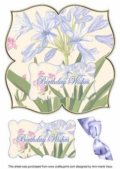 Agapanthus Birthday Wishes 8in Large Blooms Fancy Topper on Craftsuprint - Add…