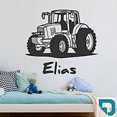 436ed814b9 DESIGNSCAPE® Wandtattoo Traktor mit Wunschname | Wandtattoo Junge  Kinderzimmer 60 x 40 cm (Breite x Höhe) türkis DW808182-S-F33: Amazon.de:  Baumarkt
