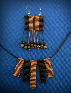 Macrame necklace and earrings, easy, gbrown and black colors