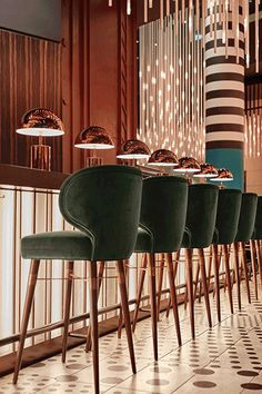 How to choose a bar stool for your kitchen? Check the Top Trends 2020 and discover how to choose a bar stool for your kitchen. Choosing which fabric, style, and inspirations that best suit for each interior design project. Decoration Restaurant, Design Bar Restaurant, Deco Restaurant, Restaurant Lighting, Hotel Decor, Luxury Restaurant, Restaurant Chairs, Japanese Restaurant Design, Art Deco Hotel