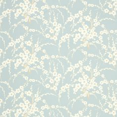 Laura Ashley Lori Duck Egg Floral Wallpaper behind bed Duck Egg Blue Wallpaper, White Wallpaper, Bathroom Wallpaper, Flower Wallpaper, Wall Wallpaper, Duck Egg Blue Bedroom, Duck Egg Blue Living Room, 3d Home, Childrens Room Decor