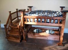 Dog Bunk Bed with Feeding Station...so cute! Find the BEST Bunk Bed Ideas!