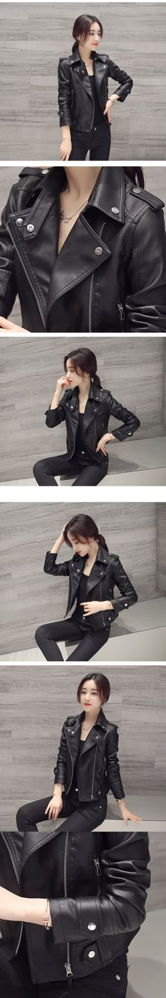 f74f9b88b9a New Autumn Winter Sexy Black Motorcycle Jacket Women Faux Leather Jacket  Slim Long Sleeve Faux PU