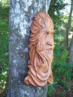 hand carved wood spirit gothic green man by WoodforddellDesigns