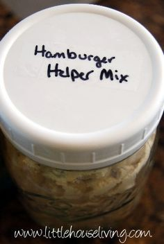 Homemade Hamburger Helper Mix...prep ahead and store to use ready and without stress but at less than 1/2 the price.  Just remember to add some fresh cheese and ground meat.