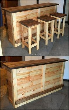 20 Brilliant DIY Pallet Furniture Design Ideas to Inspire You - diy pallet creations Wooden Pallet Projects, Wood Pallet Furniture, Wooden Pallets, Furniture Projects, Diy Furniture, Diy Projects, Pallet Ideas, Diy Pallet Bar, Pallet Tables