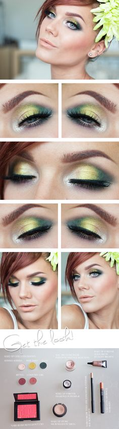 "Today's Look : ""Redhead"" -Linda Hallberg (a beautiful green eye look! neon green with teal with a hint of cranberry and mauve... instead of drawing the eyeliner up, she drew it downward, a very nice touch.)07/19/13"