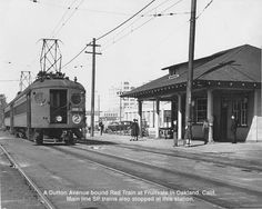Interurban Electric Railway car at the Fruitvale Station. This is around Fruitvale & San Leandro St. Station and the Montgomery Ward in the background are both gone.    http://www.oberail.org/page/interurban_electric/  http://en.wikipedia.org/wiki/East_Bay_Electric_Lines