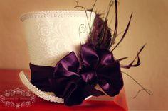 Purple Bowtie Mini Top Hat -- Any Colors Available -- Birdcage Veil. $60.00, via Etsy.