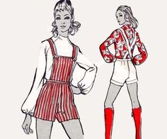 1960s Vintage Pattern Hot pants & blouse by allthepreciousthings, $25.00