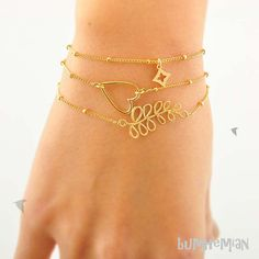 Stackable Simple Ball Chain With Leafy Stem One by Bumhemian, $16.50