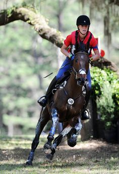 Selena O'Hanlon and Thoroughbred A First Romance boogie on the Red Hills cross country course.