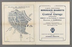"Map of Bordeaux found inside ""Guide Michelin, France"" from the Prendergast Personal Library"
