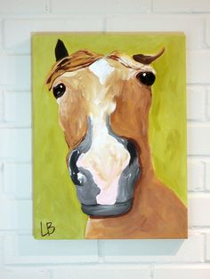 Small Horse Painting Original 12x16 Acrylic on by Logan Berard