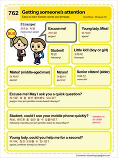 Easy to Learn Korean 762 - Expressions: Getting Someone's Attention (Vocab) Learn To Speak Korean, Learn Basic Korean, Korean Words Learning, Korean Language Learning, Learn Korean Alphabet, Korean English, English English, English Grammar, Learn English