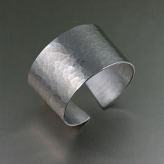 Hammered Aluminum Cuff Bracelet  - 10th Anniversary Gift - Aluminum Cuff - Handmade Jewelry by John S Brana