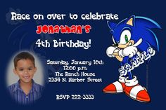 Sonic the Hedge Hog Birthday Invitations   Get these invitations RIGHT NOW. Design yourself online, download and print IMMEDIATELY! Or choose my printing services.   No software download is required. Free to try!