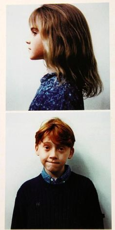 Ron and Hermione mugshots / Emma Watson and Rupert Grint in Harry Potter Harry Potter Friends, Harry Potter Cast, Harry Potter World, Ron Weasley, Big Hero 6, Hogwarts, Emma Watson Rupert Grint, Fans D'harry Potter, James Potter