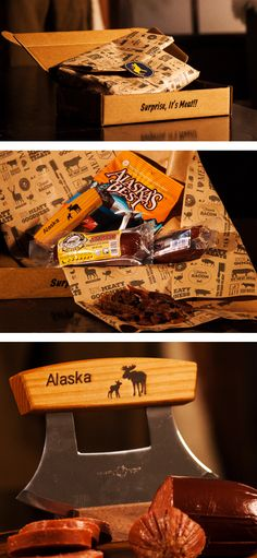 Alaskan Jerky Meat gram from Man Crates is the perfect gift idea for the holiday. Harm his heart with the power of meat, includes Ulu Knife 9 oz Reindeer Summer Sausage, 9 oz Caribou Summer Sausage,  3 oz Alaskan Salmon Jerky Original.