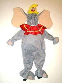 Disney Store Dumbo Plush Elephant Hooded 1 Piece Halloween Costume Boy Girl 12 M