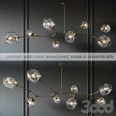ЛЮСТРА BRANCHING BUBBLE 8 LAMPS GOLD BY LINDSEY ADELMAN