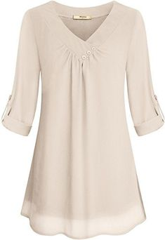 Yidarton Women Chiffon Blouses Roll-up Long Sleeve Top Casual V Neck Layered Tunic ShirtMiusey Chiffon Clothing Women, Ladies Simple V Neck Roll Sleeve Front Pleated Light Material Summer Fashion Comfy Snug Lovely Blouses Shirt Top Beige M The neckli Chiffon Ruffle, Chiffon Shirt, Pleated Shirt, Tunic Shirt, Tunic Tops, Blouse Online, How To Roll Sleeves, Casual Tops, Formal Tops