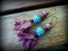 Rustic Funky Primitive Artisan Boho Handmade Lampwork Sari Silk Earrings Burgundy Blue Pink Purple Brass (39.00 USD) by BijouxFan - handmade - jewelry - jewellery - artisan - etsy