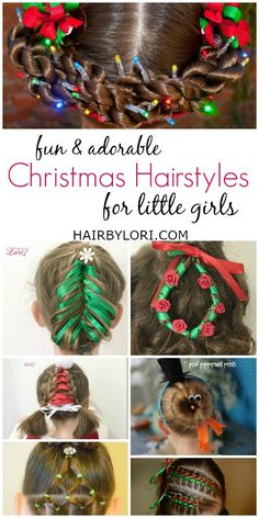 Fun and Adorable Christmas inspired Hairstyles For Little girls. Everything from Christmas lights, to frosty, even a Santa hat! Your going to love these! Cute Hairstyles For Kids, Baby Girl Hairstyles, Princess Hairstyles, Christmas Hairstyles, Unique Hairstyles, Children Hairstyles, Pretty Hairstyles, Christmas Fashion, Christmas Fun