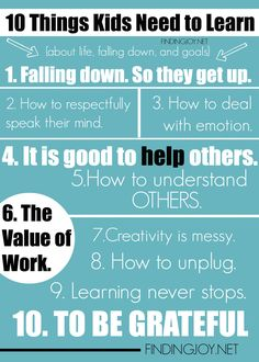 10 things kids need to learn