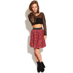 Vivienne Red Tartan Skater Skirt-S/M (£7) ❤ liked on Polyvore featuring skirts, red, red flared skirt, red knee length skirt, red tartan skirt, red circle skirt and tartan skirt