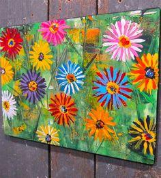 MiXED DAiSYs~painting Maine FOLK ART Outsider~COASTWALKER Diy Painting, Painting & Drawing, 8th Grade Art, Daisy Art, Beginner Art, Art Brut, Spring Art, Arte Popular, Plantation