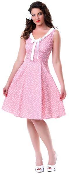 SALE! Darla Pink Hilary Swing Dress - Unique Vintage - Prom dresses, retro dresses, retro swimsuits.