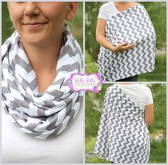 What a great idea -> Hold Me Close Nursing Scarf - Gray Chevron, Nursing Cover, Infinity Scarf