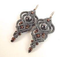 Macrame Earrings, Gray And Gunmetal With Metallic Bronze Seed Beads by neferknots on Etsy