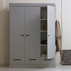 CONNECT+Contemporary+3+Door+Cupboard+Cabinet+With+Storage+in+Concrete+Grey