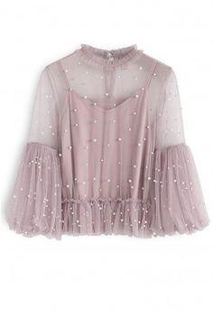 Pearly in Love Peplum Mesh Top in Pink - Retro, Indie and Unique Fashion Dress Outfits, Casual Outfits, Fashion Dresses, Stylish Dresses For Girls, Girls Dresses, Led Dress, Kebaya, Diy Clothes, Blouse Designs