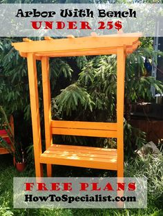 This step by step diy project is about how to build a garden arbor bench. If you want to learn more about building a sturdy diy arbor bench for your garden, pay Small Garden Arbour, Diy Arbour, Garden Arbor, Diy Garden, Garden Benches, Small Garden With Bench, Small Patio, Garden Ideas, Wooden Pergola