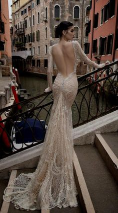 lace mermaid wedding dress open back with sleeves Naf Dresses