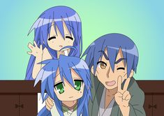 Konata, her father, and her mom (Kanata)