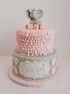 Pink and Gray cake (instead of elephant, an owl).